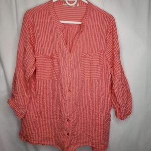 Soft surroundings red pink striped top